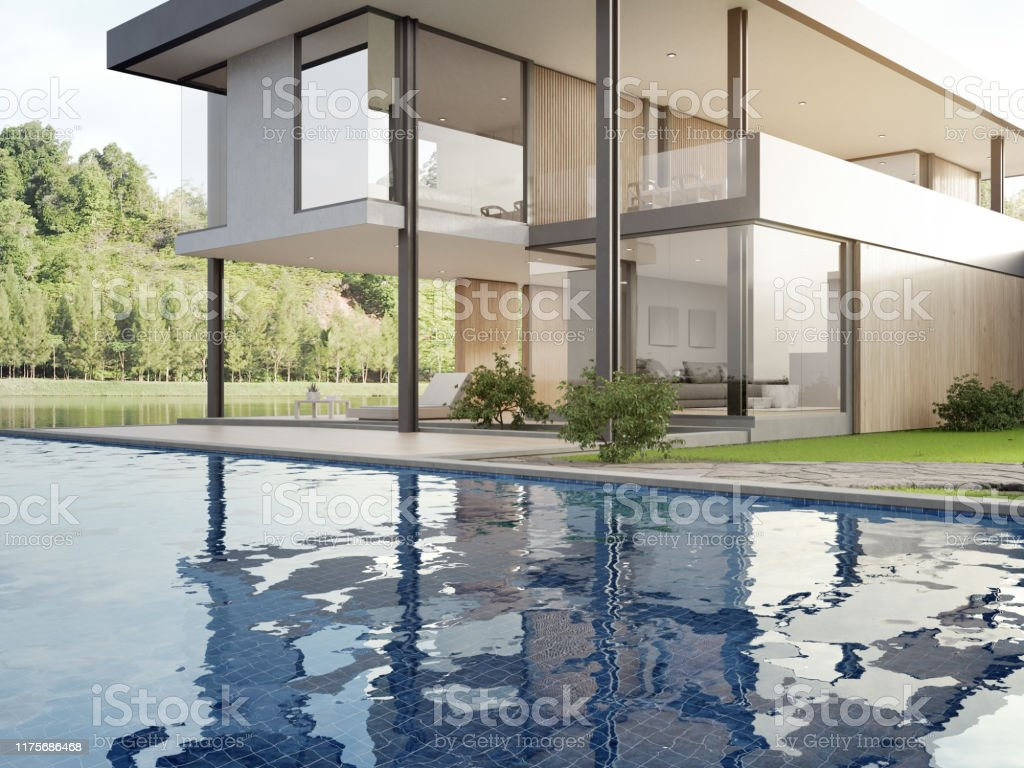 Luxury House With Lake View Swimming Pool And Terrace In Modern Design Wooden Floor Deck At Vacation Home Or Hotel Stock Photo Download Image Now Istock