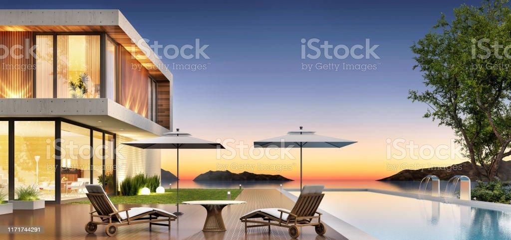 Casa De Lujo Con Piscina Y Terraza Para Relajarse Foto De