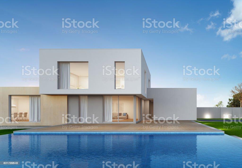 Casa De Lujo Con Piscina Y Terraza En Diseño Moderno Casa