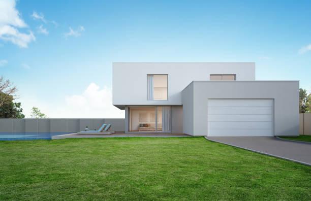 luxus-haus mit pool und terrasse in der nähe von rasen in modernem design, leere vorgarten am ferienhaus oder ferienvilla für große familie - gartenillustration stock-fotos und bilder