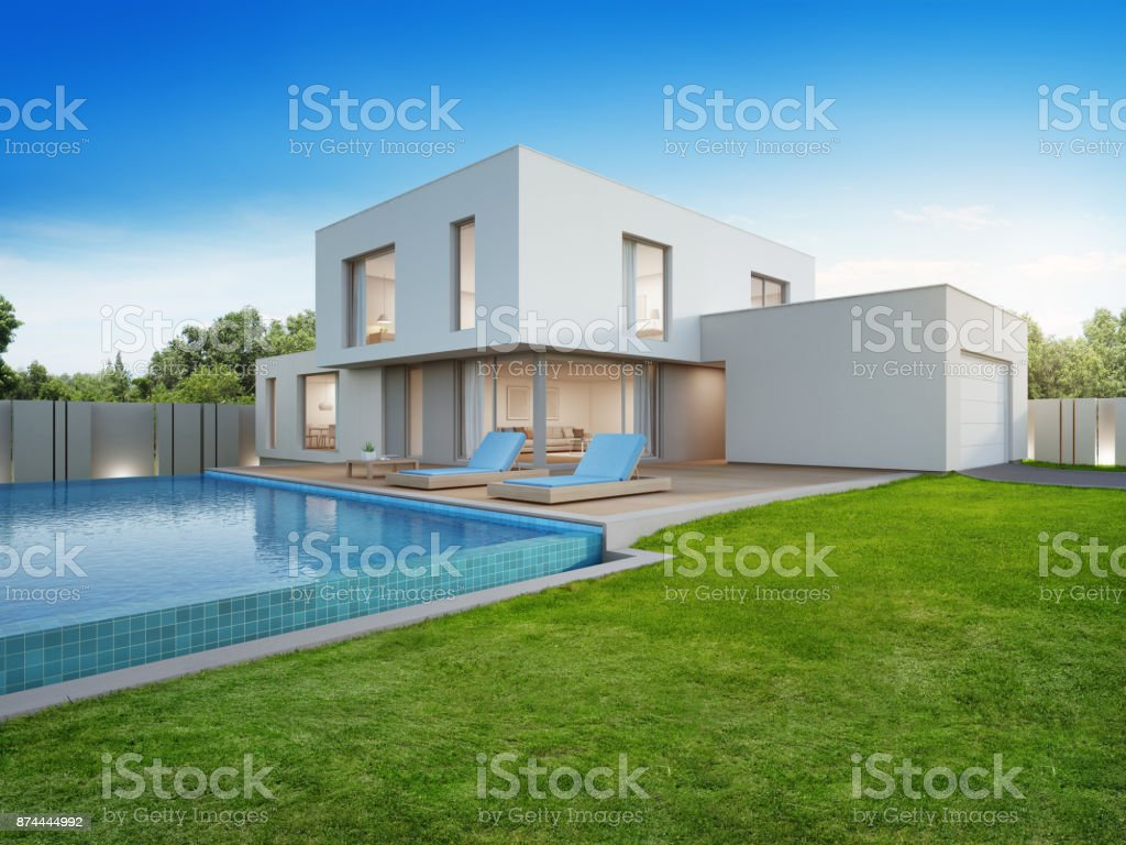 Luxury house with swimming pool and terrace near lawn in modern design, Empty front yard at vacation home or holiday villa for big family stock photo