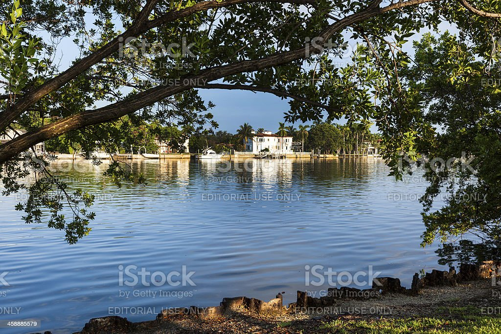 luxury houses and condos at the canal in Miami royalty-free stock photo