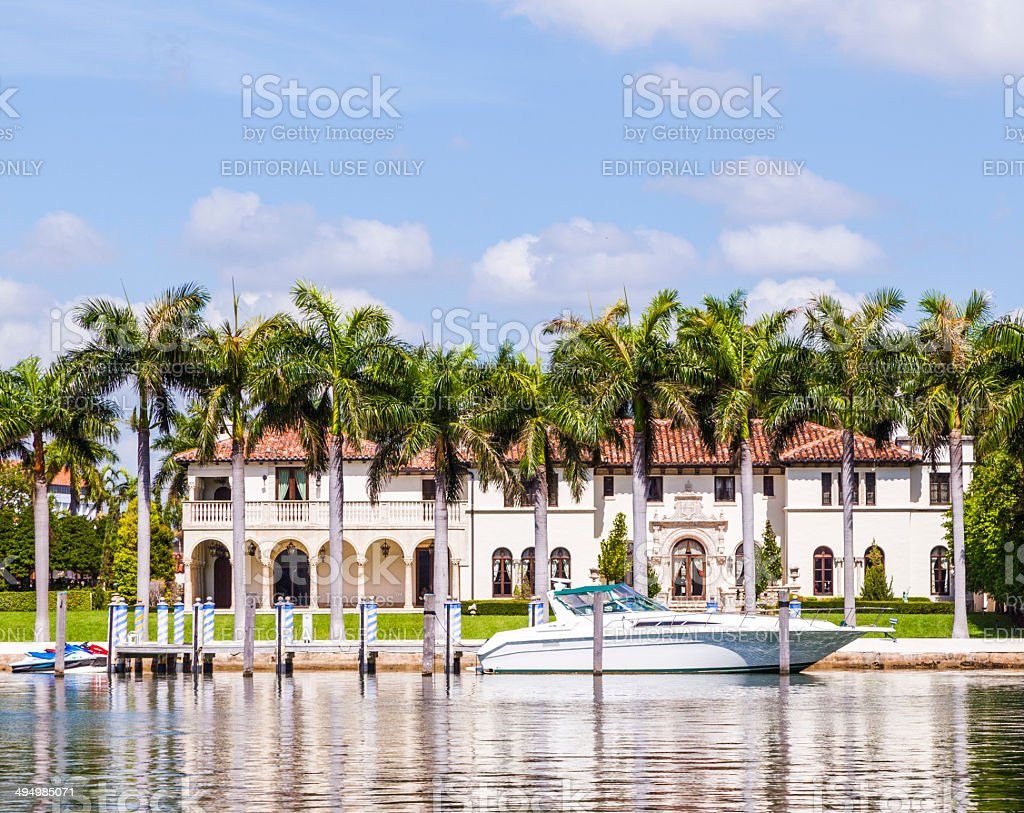 luxury houses at the canal in Miami stock photo
