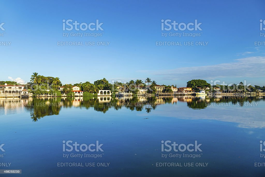 luxury houses at the canal on  Pinetree Drive in Miami royalty-free stock photo