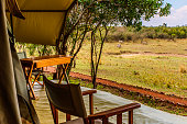 Afternoon view of veranda of an exclusive, luxury safari tent and surrounding vegetation. Beyond the pathway, a few grazing zebra are visible in the distance.