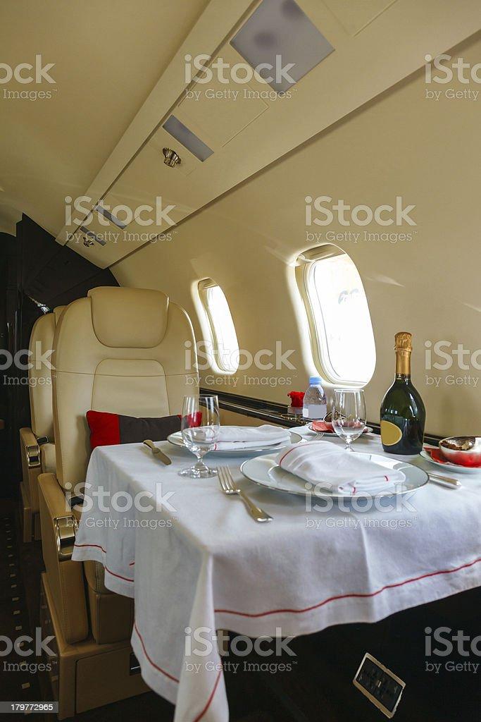 Luxury interior aircraft business aviation royalty-free stock photo