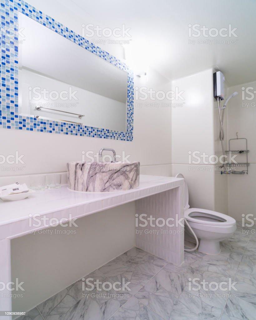 Luxury Interior bathtoom, Studio room type of condominium or apartment, service apartment and Accommodations Concept – zdjęcie