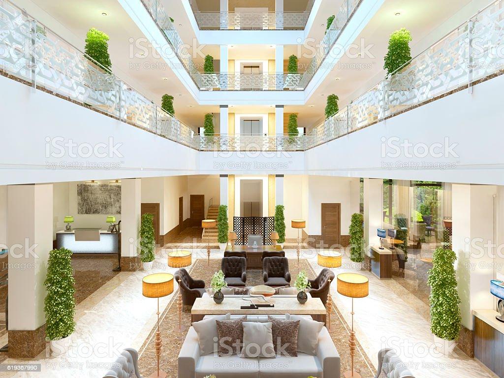 Luxury interior design lounge area of the hotel. stock photo