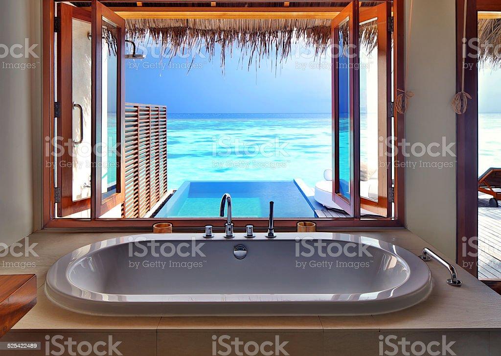 Luxury interior on beach resort stock photo