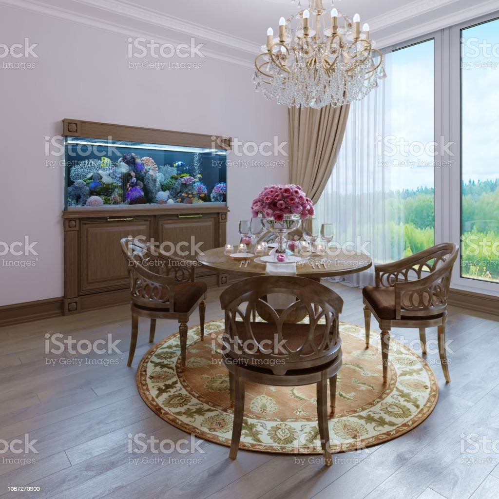 Luxury Interior White Wall And Furniture Brown Chair Classic Dining Room  Style Classic Chandelier Stock Photo - Download Image Now