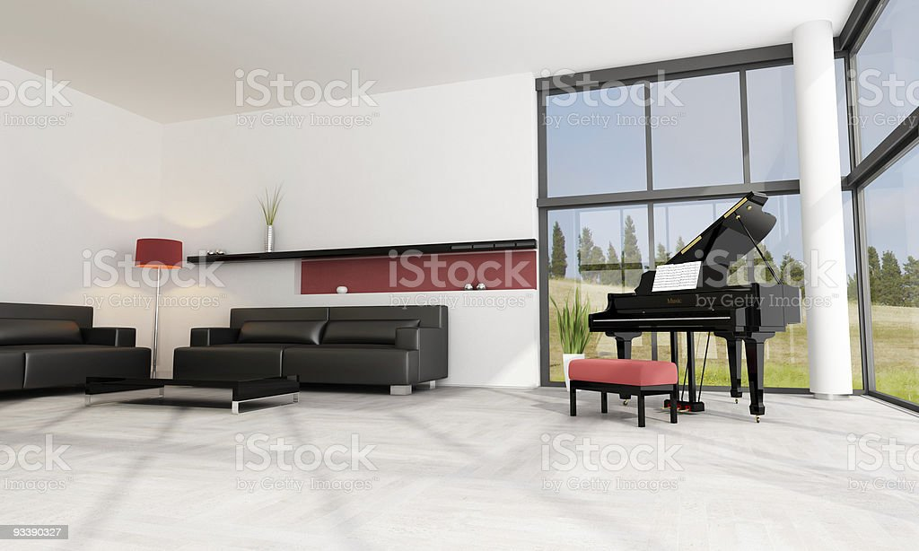 luxury interior with grand piano royalty-free stock photo