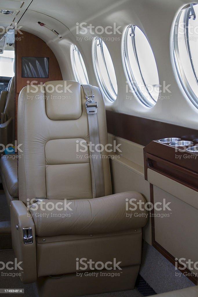 Luxury Jet window seat - interior right stock photo