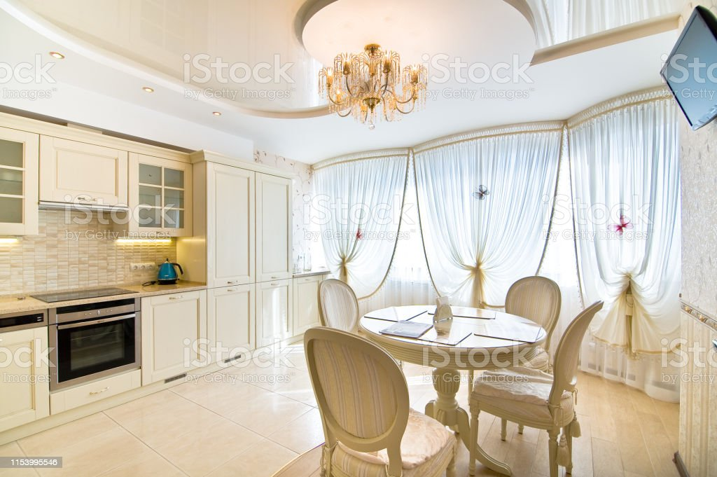 Luxury Kitchen Classic Italian Style White Wooden Panel With Marble Table Top Stock Photo Download Image Now Istock