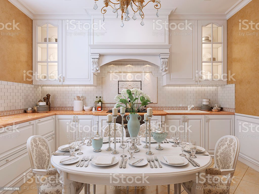 Luxury kitchen design in a classic style. stock photo