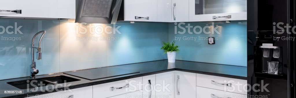Luxury kitchen in apartment stock photo