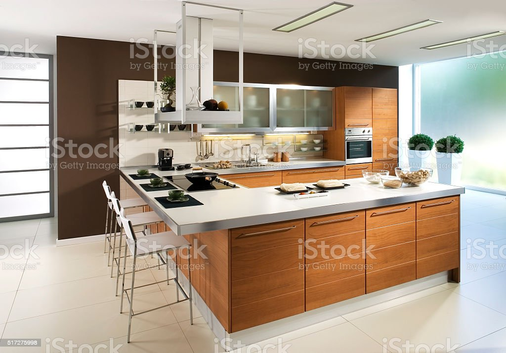 Luxury kitchen in modern design stock photo