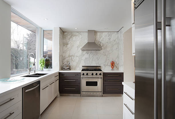 luxury kitchen - looking inside inside cabinet bildbanksfoton och bilder