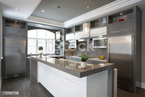 Interior of modern luxury kitchen in North American private residence.
