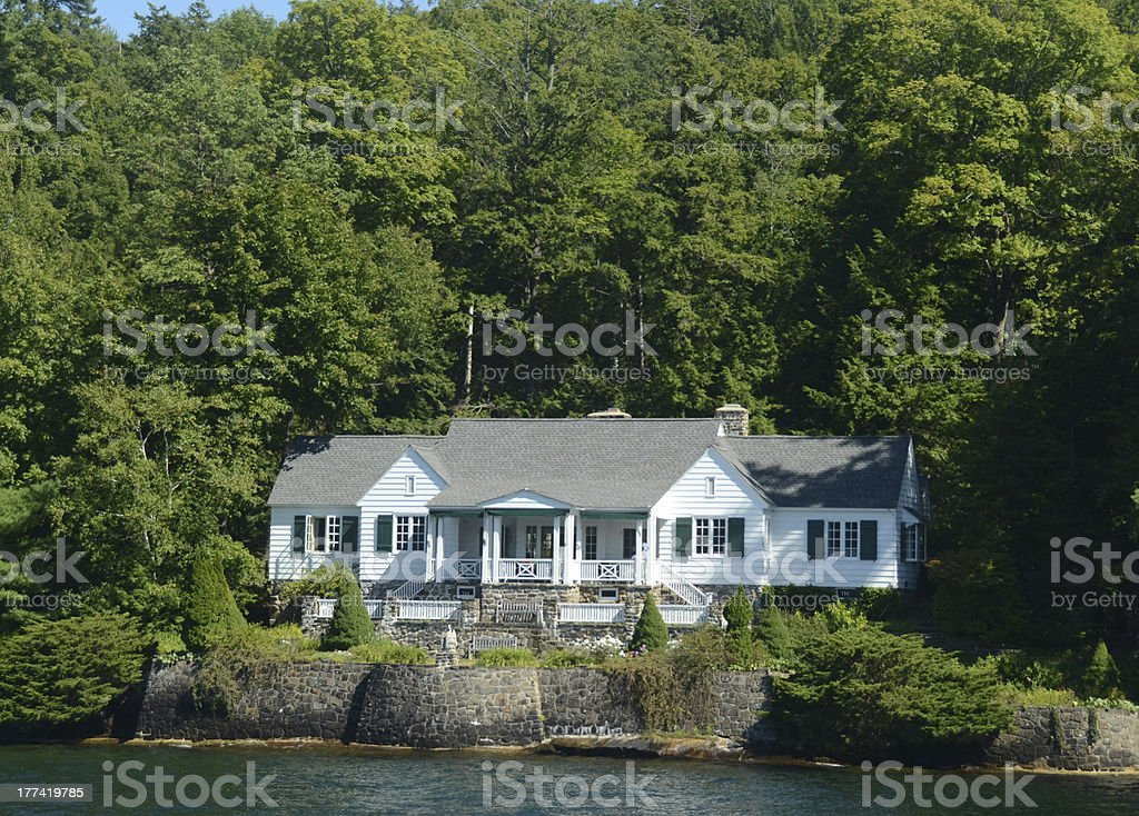Luxury lakefront home stock photo