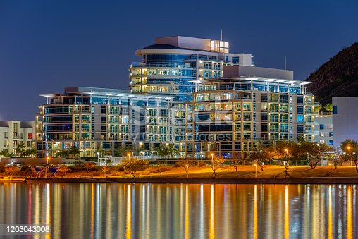 An upscale residential complex on the banks of Tempe Town Lake in Arizona.