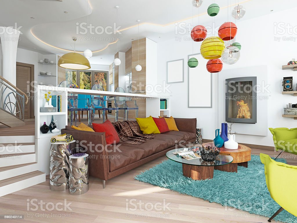 Luxury large living room in the style of kitsch. stock photo