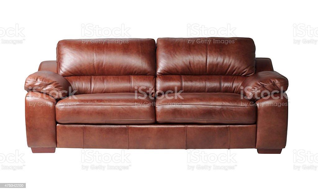 Luxury leather sofa isolated on white stock photo