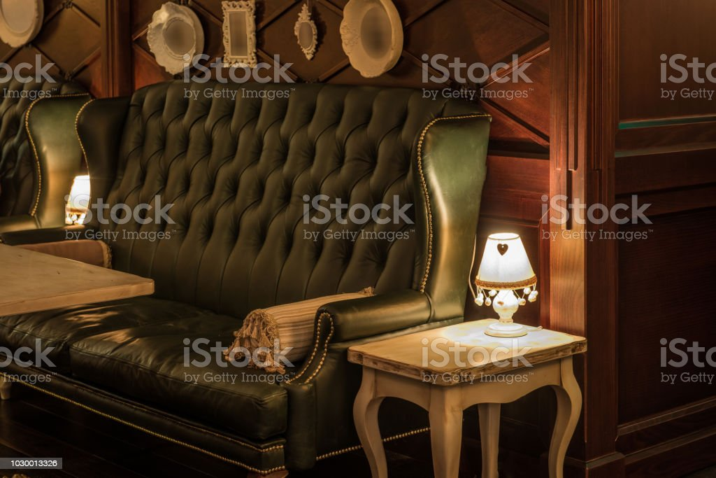 Luxury Leather Sofas And Tables In Restaurant Interior Royalty Free Stock  Photo