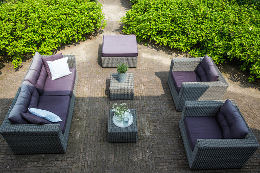 Luxury lifestyle sofa and in the garden ariel view summer day