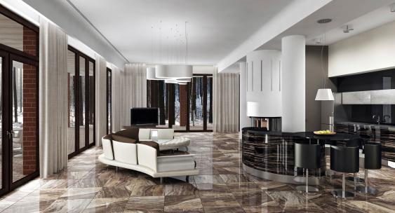 Luxury light interior in daylight