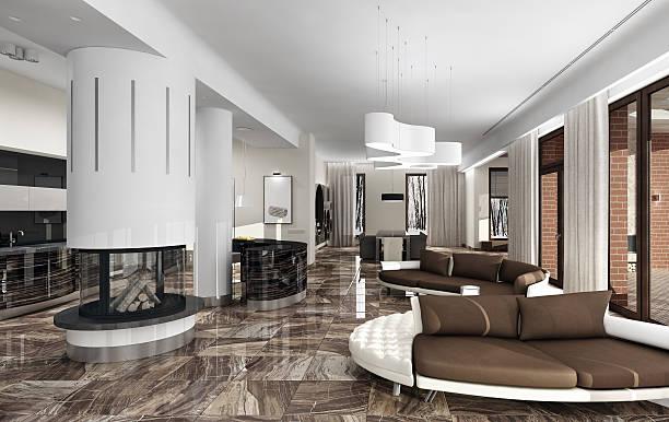 Luxury light interior with fireplace stock photo