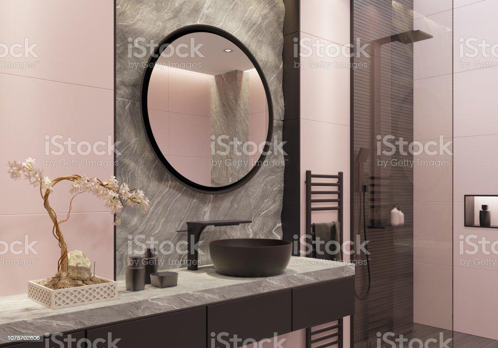 https www istockphoto com fr photo lumi c3 a8re rose et bold noir salle de bain luxueuse avec des carreaux de grand mur et gm1075702606 288020438