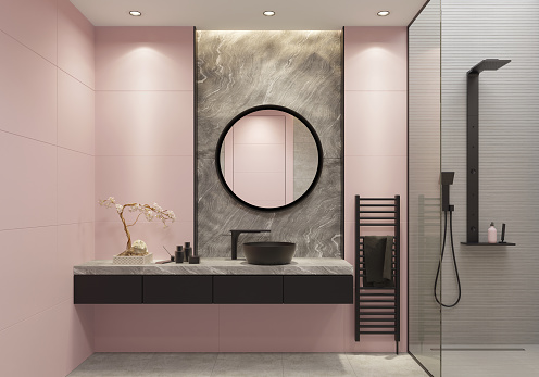 Luxury Light Pink And Bold Black Bathroom With Large Wall