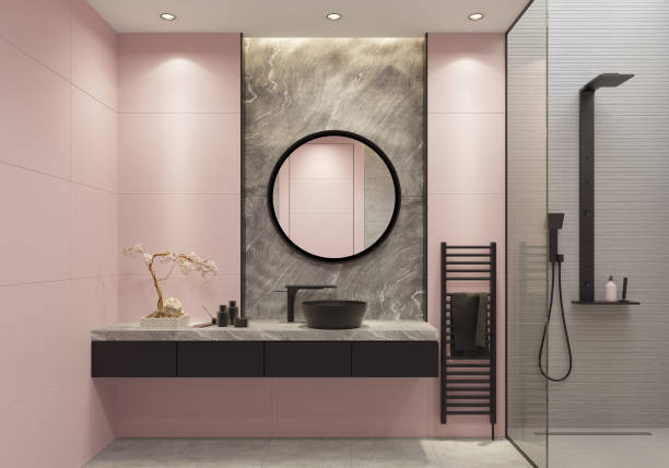 Hell rosa und Fett schwarz Luxusbad mit großen Wandfliesen und natürlichen grauen Steinblock – Foto