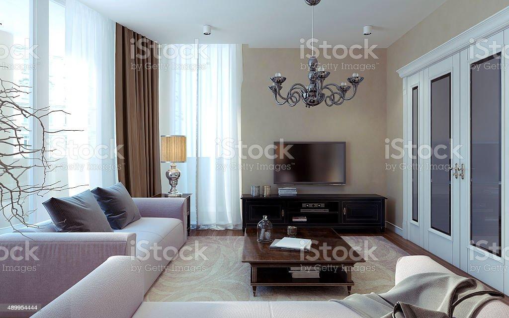 Luxuriöses Wohnzimmer Artdécoelementen Und Modernen Stil Stockfoto ...