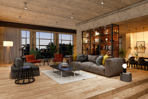 Luxury Living Room At Night With Armchairs, Sofa, Lighting Equipments And Dining Table Background.