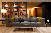 istock Luxury Living Room At Night With Sofa, Floor Lamp And Parquet Floor. 1298286077