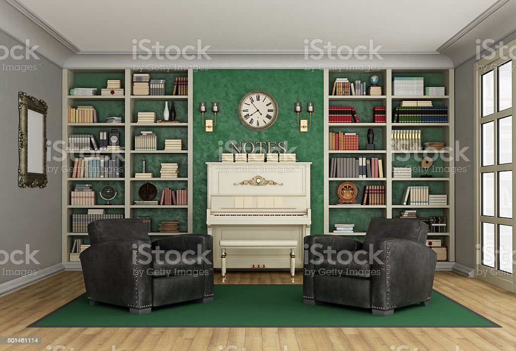 Luxury living room bookcase and upright piano
