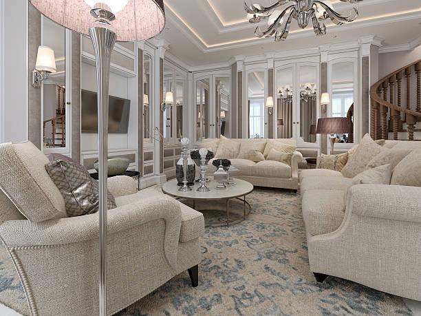 luxuriöses wohnzimmer einen klassischen stil - wandleuchte treppenhaus stock-fotos und bilder