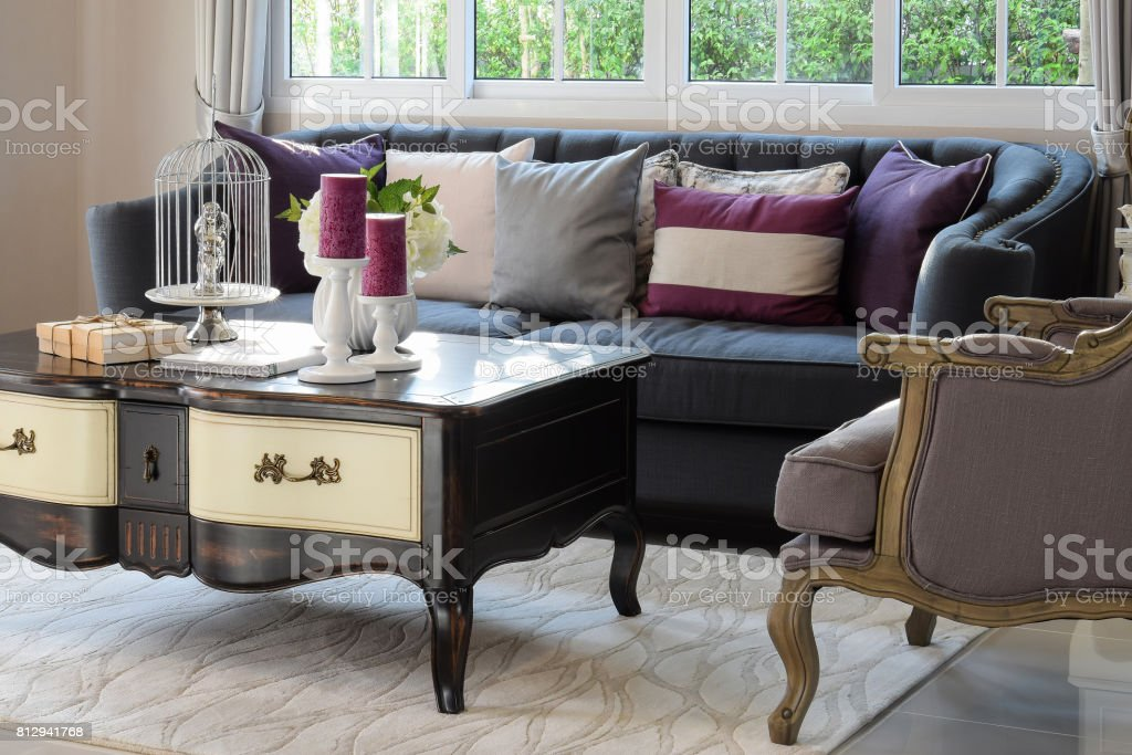 luxury living room design with classic sofa, armchair and decorative set on wooden table stock photo