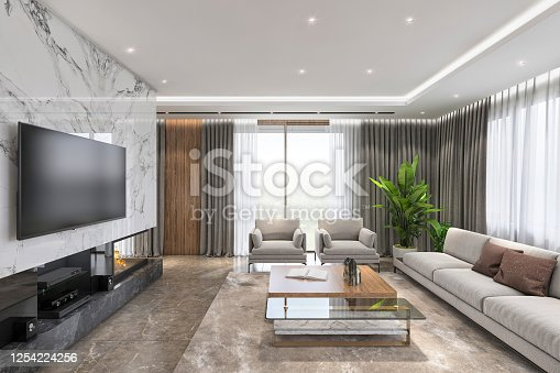 Modern luxury living room interior with large TV above a fireplace. Render