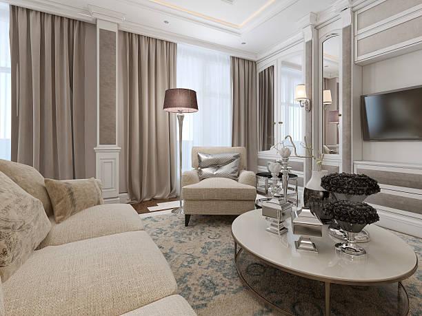 luxuriöse wohnzimmer innenansicht - wandleuchte treppenhaus stock-fotos und bilder