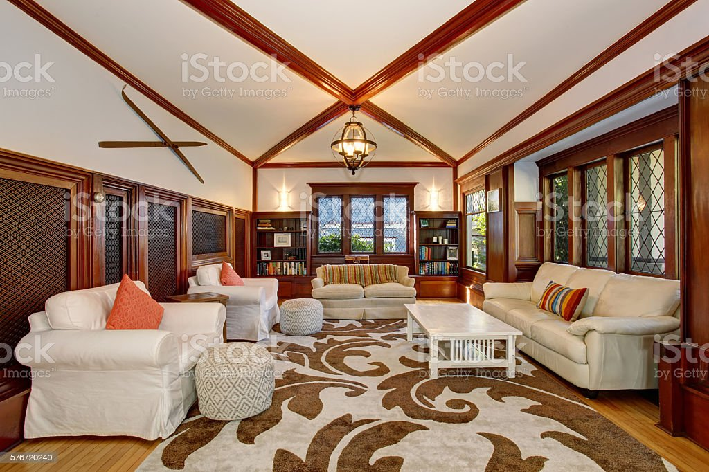 Luxury Living Room Interior With Builtin Furniture Stock Photo Download Image Now Istock