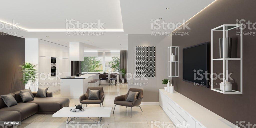 Luxus Wohnzimmer Interieur mit modernen minimalistischen Küche – Foto