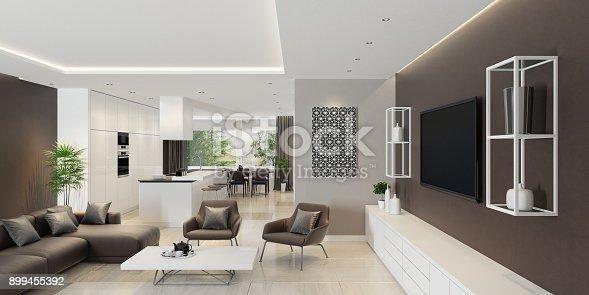 Luxus wohnzimmer interieur mit modernen minimalistischen küche stock