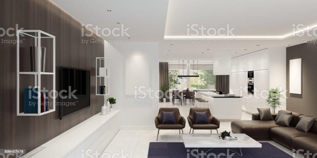 Luxus wohnzimmer interieur mit modernen minimalistischen küche