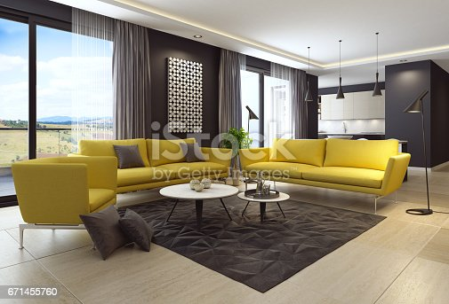istock Luxury living room interior with modern yellow furniture and kitchen 671455760