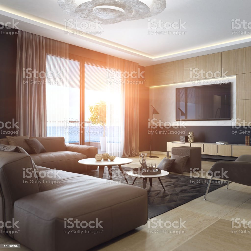 Luxury Living Room Interior With Tv Stock Photo   Download Image Now