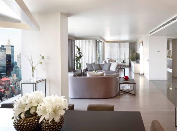 sala de estar luxury - grande angular - fotografias e filmes do acervo