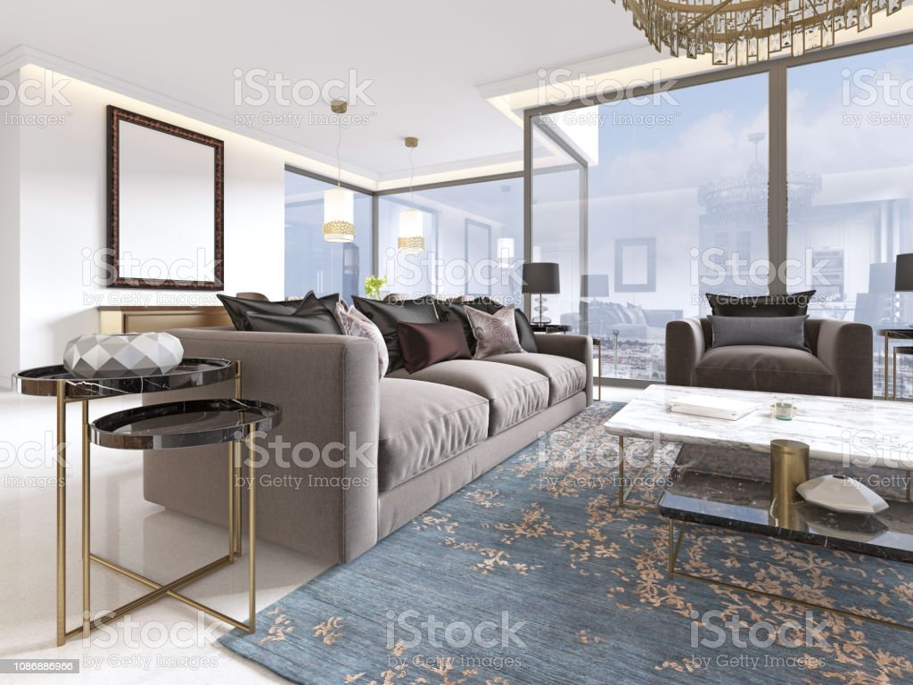 Luxury Living Room Studio With Kitchen And Dining Room Stock Photo Download Image Now Istock