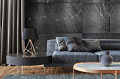 Luxurious apartment living room with natural black stone wall tiles. Stylish and comfortable sitting area with a modern sofa  Dark gray accent slate stone walls and black metal lamp in front. Close up image with copy space.
